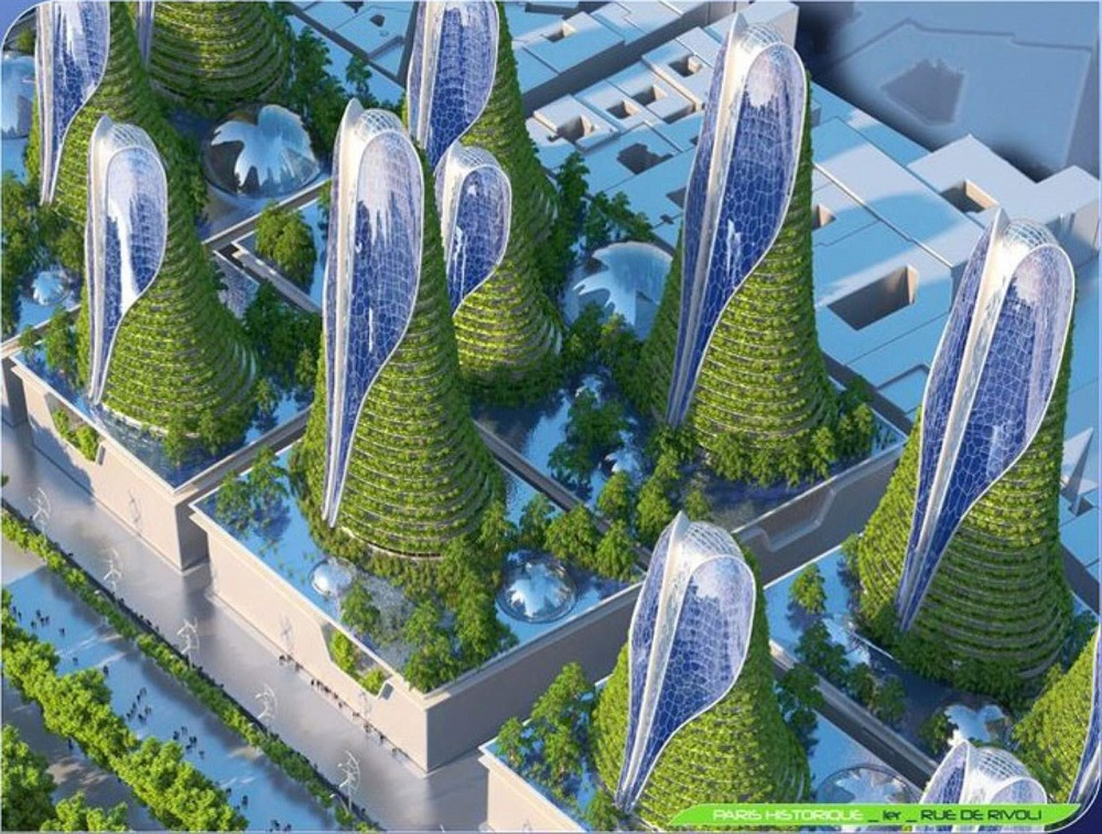 MOUNTAIN TOWERS 1st district, Historic Paris, RUE DE RIVOLI Solar and hydrodynamic towers with bio-air conditioning.