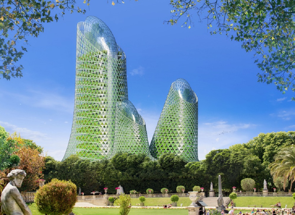 PHOTOSYNTHESIS TOWERS 15th district, Modern Paris, MONTPARNASSE TOWER A park in the shape of vertical spirals with bio-facades covered by algae.