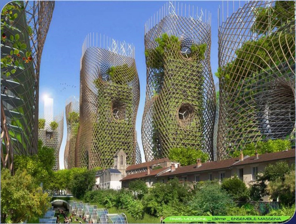 BAMBOO NEST TOWERS 13th district, Modern Paris, MASSENA Thermodynamic green towers with vertical food gardens and orchards.