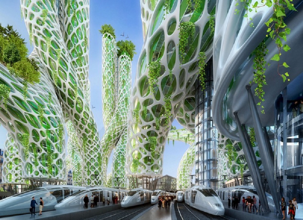 MANGROVE TOWERS 10th district, Future Paris, GARE DU NORD Photosensitive towers.