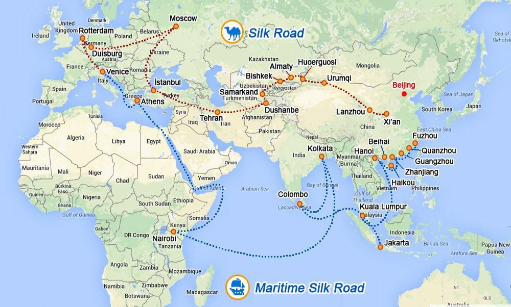 Anticipated route of the OBOR initiative. Source: Xinhua. 2016. In: http://en.xfafinance.com/html/OBAOR/