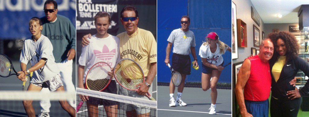 Nicholas James Bolletieri is legend. He has participated in the development of many leading players, including Andre Agassi, Jim Courier, Monica Seles, and Mary Pierce. He also worked with Maria Sharapova, Daniela Hantuchová, Jelena Janković, Nicole Vaidišová, Sabine Lisicki, Sara Errani, Tommy Haas, Max Mirnyi, Xavier Malisse, Venus Williams, Serena Williams, Martina Hingis, Anna Kournikova, Marcelo Ríos, Kei Nishikori, and coached Boris Becker for two years.